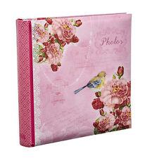 "Large Pink Vintage Birds Memo Slip In Photo Album For 200 Photos 4'' x 6"" -PK200"
