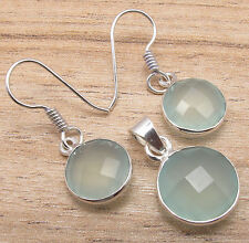 925 Silver Overlay Matching Earrings & Pendant SET AQUA CHALCEDONY Faceted Gems