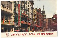 Greetings CHINATOWN New York City NY Postcard Vintage Mott, Pell, Bayard Streets