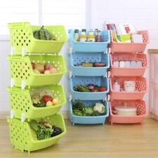 Plastic Stackable Vegetable Fruit Rack Basket Kitchen Storage Shelves Stand Sigh