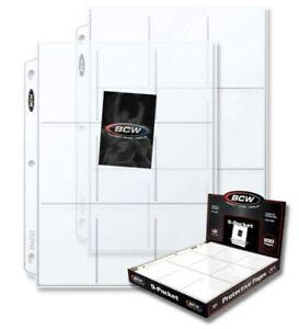 200 BCW Pro 9-Pocket Sports / Baseball / Trading Card Album Pages binder sheets