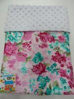 Floral Baby Blanket Bassinet Moses Basket 80cm x 60cm Angelica Pink