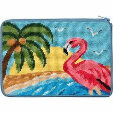 New listing Alice Peterson Stitch & Zip Needlepoint Cosmetic Purse Kit - Flamingo