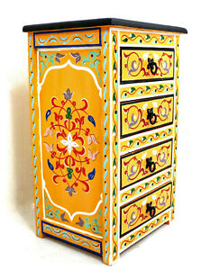 Moroccan Nightstand Table Orange Painted Handmade 4 Drawers Authentic End Decor