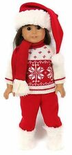 18 inch Doll Clothes fits American Girl - 5 pc Red Snowflake Sweater Outfit