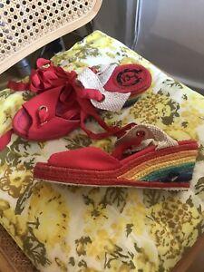 Miss L Fire Rainbow Red Espadrilles 4