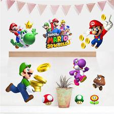 DIY Super Mario Bros Removable Wall Sticker Decals Kids Nursery Decor Cartoon