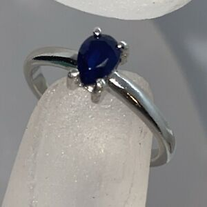 Sterling 925 silver silver sapphire Solitaire ring size L