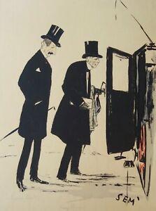 Lithographie originale de Sem, M.Feraud, M.Bergasse, Marseille, calèche, 1900