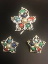 Vintage Sarah Coventry Speckled Cabochon Leaf Pin Earring Set Silvertone
