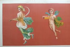 ANTIQUE PRINT C1870'S POMPEII MURAL PAINTINGS FROM THE RUINS LITHOGRAPH HISTORY