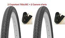 """2 Copertoni Nero 700x35C Wanda King + 2 Camera d'aria per Bici 28"""" City Bike"""