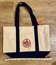 NEW Trader Joe's Reusable Canvas Blue and White Reusable Tote Bag