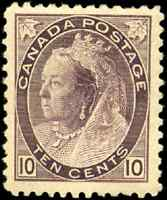 Canada #83 mint F-VF OG H 1898 Queen Victoria 10c brown violet Numeral CV$475.00