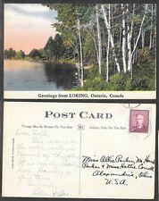 1952 Canada Postcard - Greetings from Loring, Ontario