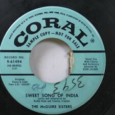 50'S & 60'S Promo 45 The Mcguire Sisters - Sweet Song Of India / Give Me Love On