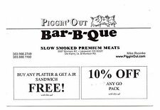 Piggin' Out Bar-B-Que Postcard Advertising Coupons BBQ Colorado Posted