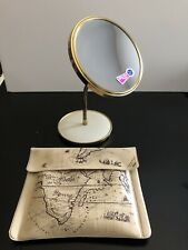 """Irving Rice Makeup Mirror Double Sided Vintage 6 1/2"""" 5x Mag Gooseneck Travel"""