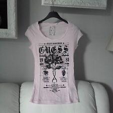 T-shirt Guess rosa pallido con scritte nere brillantinate nuova maglia maglietta