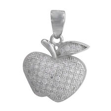 STERLING SILVER 925 APPLE NECKLACE CUBIC ZIRCONIA WITH STERLING SILVER CHAIN