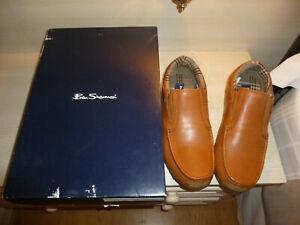 BNIB Mens BEN SHERMAN Tan Leather Casual Slip On Shoes UK 8 EU 42