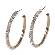 "QVC Nadri Micro Pave' 1-1/4"" 14K Yellow Gold Over Round Hoop Earring"