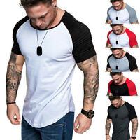 Men Raglan T-Shirt Short Sleeve Basic Tee Slim Fit Muscle Gym Sports Casual Tops