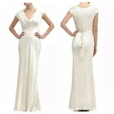 BHLDN Ghost Fern Small Ivory Satin Wedding Dress Draped Front Maxi Gown S