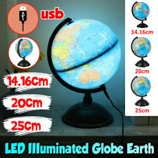 Large Office Desk Lamp World Map Earth Globe Touch Light Table Home Decor