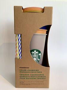 NEU 2021 Starbucks Becher Reusable Colour Changing Cold Cup Set 5 Stück 24oz