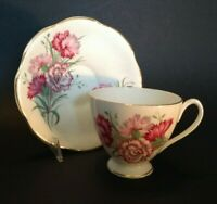 Queen Anne Pedestal Tea Cup And Saucer - Pink And Red Carnations - England