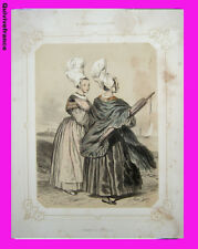 """Litho """"La Normandie illustrée"""" Femmes de Luc (Calvados)  - Signé Lalaisse"""