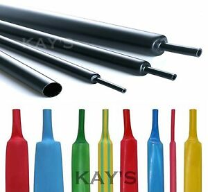 HEAT SHRINK TUBE 2:1 ELECTRICAL TUBING SLEEVING CABLE WIRE HEATSHRINK ALL COLOUR
