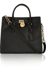MICHAEL KORS Hamilton Large  Saffiano Leather Tote Handbag  Black/gold