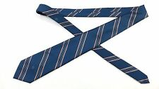 "Handsome Christian Dior Classic Blue Striped Poly/Silk Blend 56"" Tie"