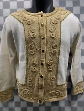Dressbarn Gold White Button Front Sweater Women's Size S