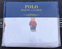 Ralph Lauren Polo White Cotton Teddy Bear 4 PC King Sheet Set New