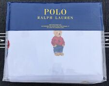 Polo Ralph Lauren Polo White Cotton Teddy Bear 4 PC King Sheet Set New