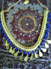 NEW World Finds HAND MADE Moon and Stars Statement Necklace Brass/ Ceramic Beads
