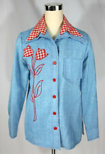Vtg Country Western Embroidered Applique Butterfly Collar Button Down Shirt - M