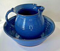 Bowl & Ewer/Pitcher Blue Pottery Art by Charles Wagoner Studio Billie Creek IN