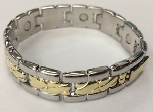Magnetic Bracelet silver gold bangle 2 tone magnet healing therapy LADIES