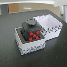 Black Red Fidget Cube Vinyl Toy Anxiety Stress Attention Relief Adults Kids