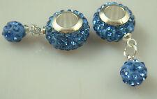Gorgeous Czech Crystals Dangle Bead fit European Charm Bracelet Earrings 7bksi