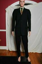 VTG 50s Manstyle men's 2 piece black pinstripe 3 button wool suit 40 32X31.5