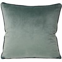 "2 X PLAIN SOFT VELVET MINERAL BLUE TEAL PIPED 22""-55CM CUSHION COVERS"