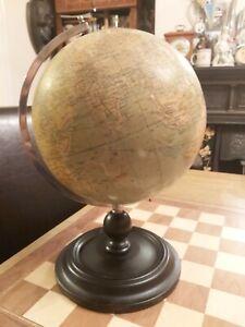 """Antique Philip & Son 9"""" Terrestrial Globe 32 Fleet St London"""