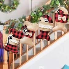 Pet Dog Christmas Stockings Plaid Large Bone Shaped Pet Stocking Christmas Decor