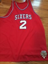 100% Authentic Moses Malone Mitchell Ness Sixers Jersey Size 56  dr j iverson