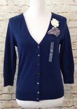 Old Navy cardigan womens medium 3/4 sleeve floral applique cropped sweater new